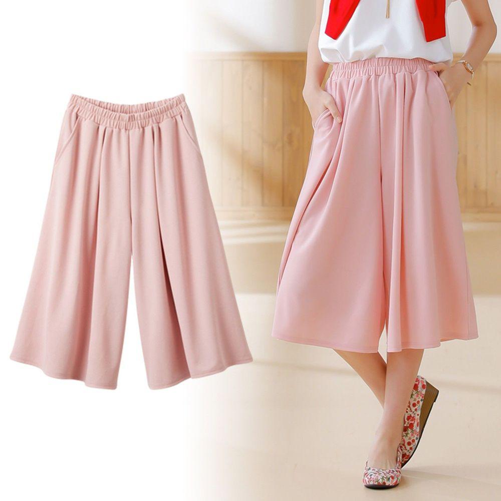 日本Nissen - 打摺素面五分寬褲裙-粉紅