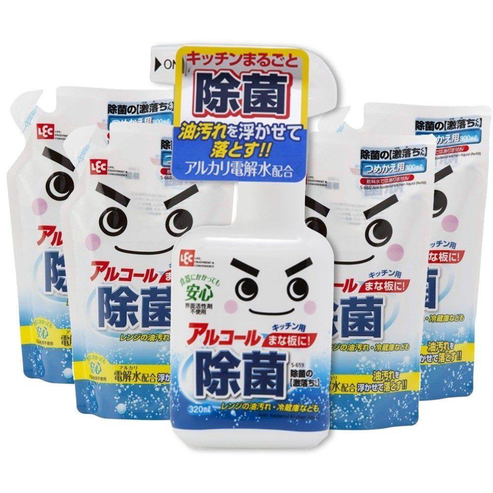 日本 LEC - 激落防菌電解水超值5入組-320ml*1標準瓶+300ml補充包*4包