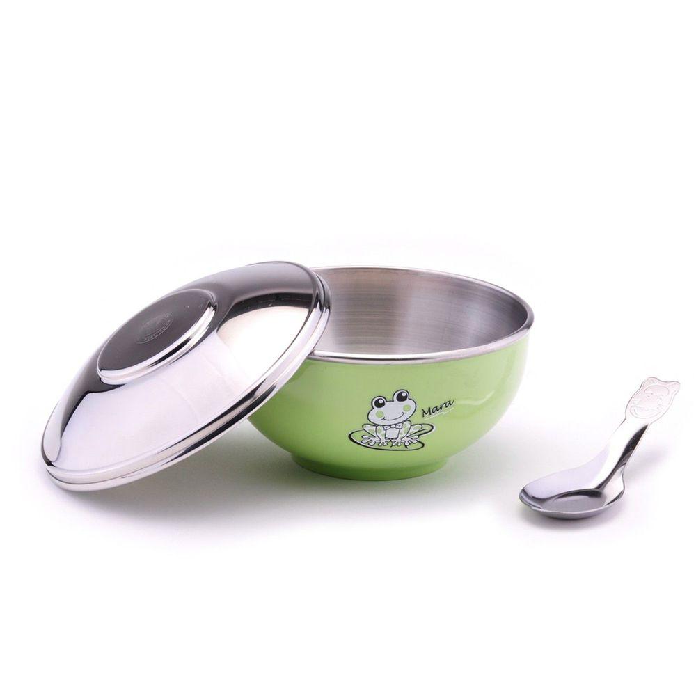 ZEBRA 斑馬 - 304不銹鋼上蓋兒童隔熱碗(附湯匙)-綠色 (11CM)-250CC