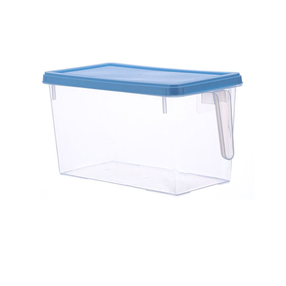 長方形透明附蓋收納盒-有把手款-藍色