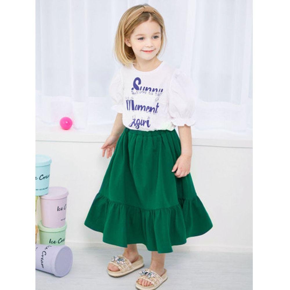 韓國 Jelispoon - 假兩件胸前蕾絲裝飾泡泡袖拼接洋裝-白X綠