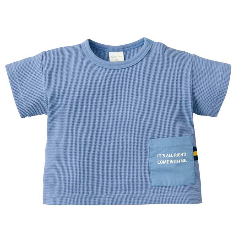 akachan honpo - 華夫格短袖T恤-藍色