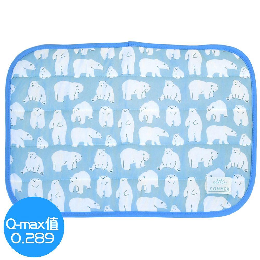 日本 DAIKAI - 接觸涼感枕頭套-親子北極熊-水藍 (50x37cm)