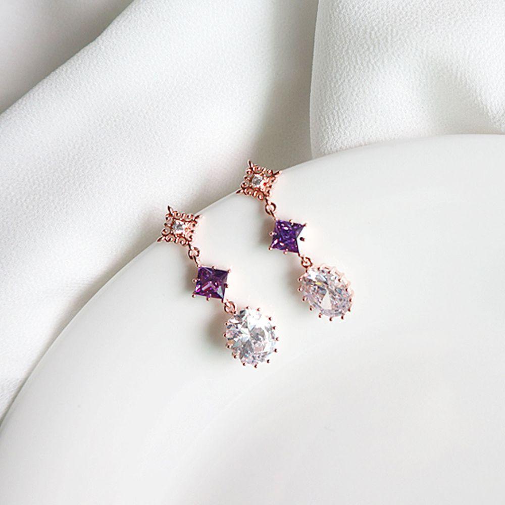 韓國製 - (925純銀)<她的私生活> 朴敏英同款耳環-菱形水晶-玫瑰金