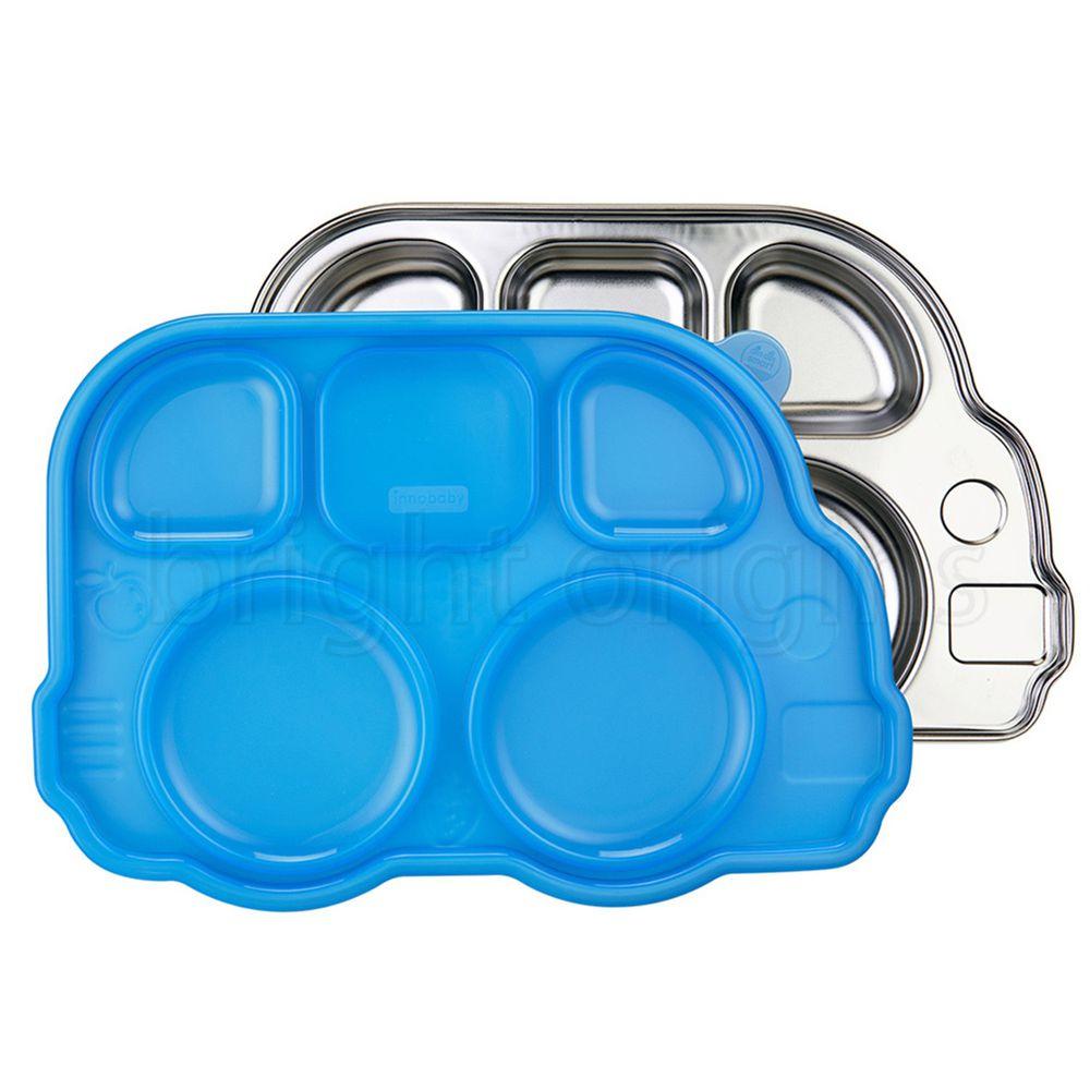 美國Innobaby - 不銹鋼兒童餐具 巴士餐盤-藍色