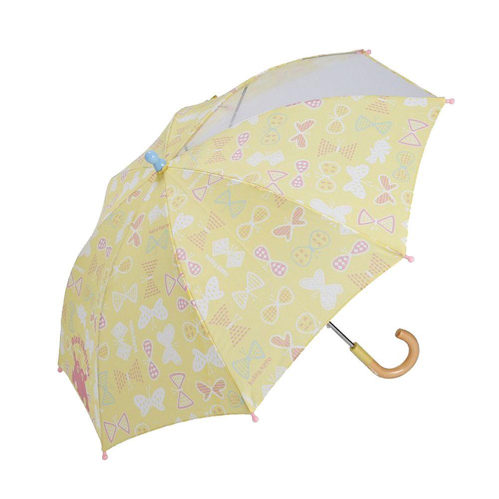 日本 kukka hippo - 小童單片透明直傘-粉黃蝴蝶