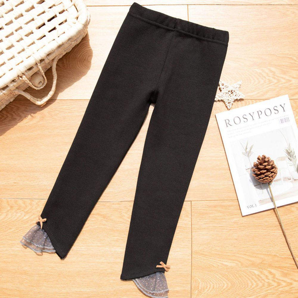 FANMOU - 內搭褲-拼接薄紗-黑色