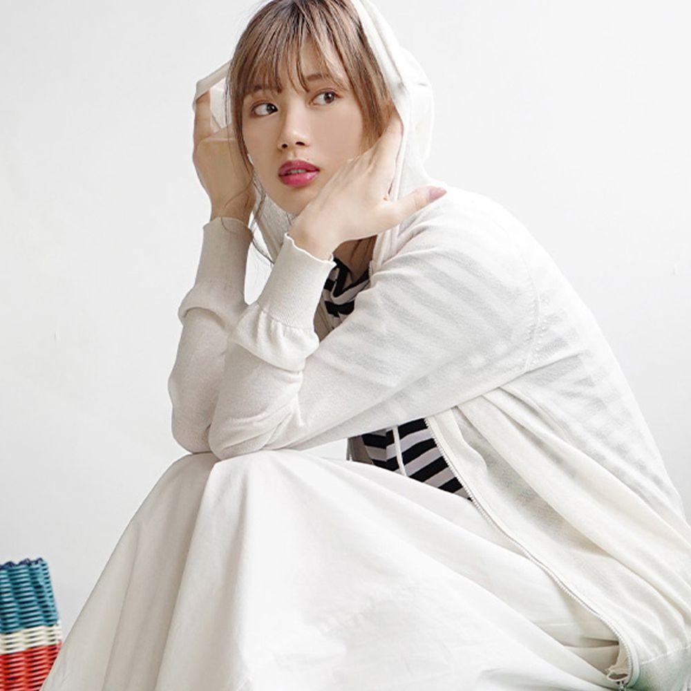 日本 zootie - 涼感X防曬速乾 連帽外套-天使白