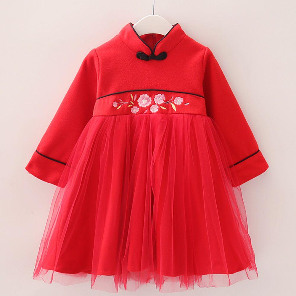 新年 - 毛呢高腰繡花紗裙-紅色