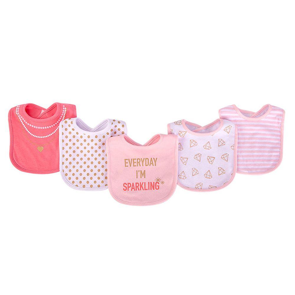 美國 Luvable Friends - 100%純棉嬰幼兒雙層吸水口水巾圍兜5入組-閃耀鑽石