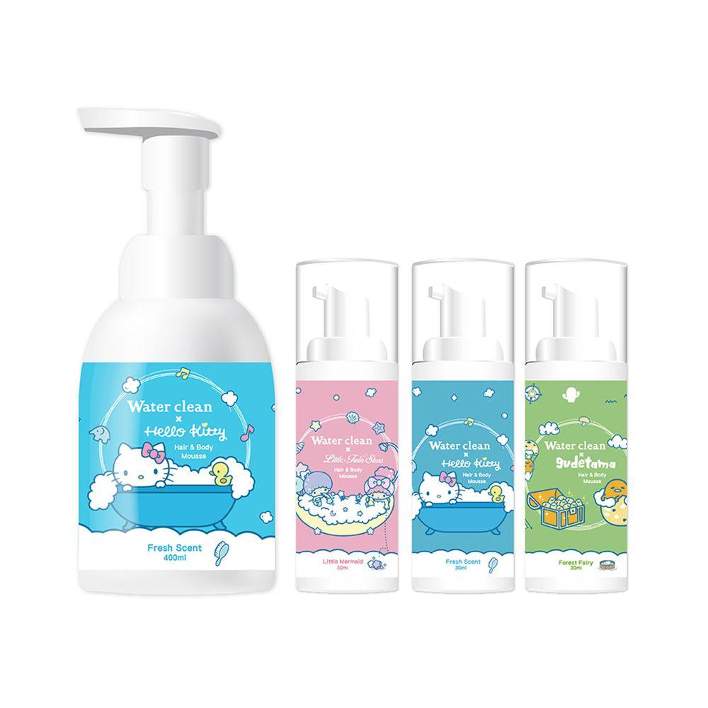 水清淨 Water Clean - 三合一泡泡慕斯-三麗鷗聯名款(baby清香-Hello Kitty)400ml*1+旅行組30ml*3