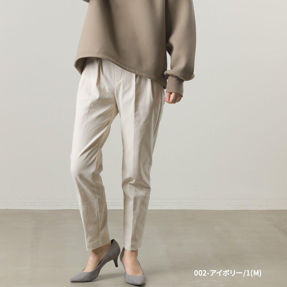 日本女裝代購 - 裏起毛打褶彈性美腿褲-象牙