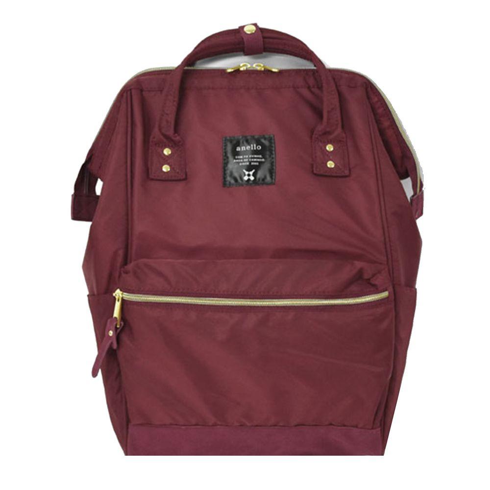 日本 Anello - 日本大開口高密度尼龍後背包-Regular大尺寸-WI酒紅