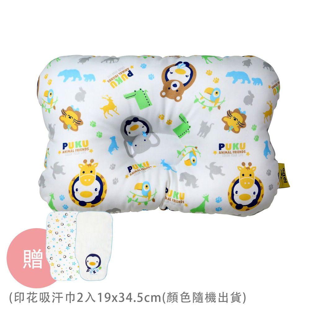 PUKU 藍色企鵝 - Breeze 透氣雲朵枕/護頭枕-動物家-水色-買贈印花吸汗巾-顏色隨機出貨x2條入