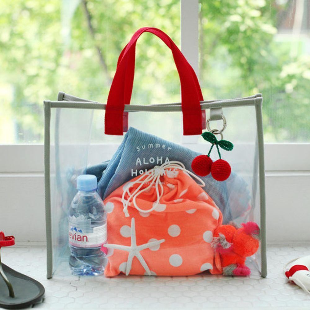 韓國製 - 雙色透明防水包-紅X灰 (35.5X28X15cm)
