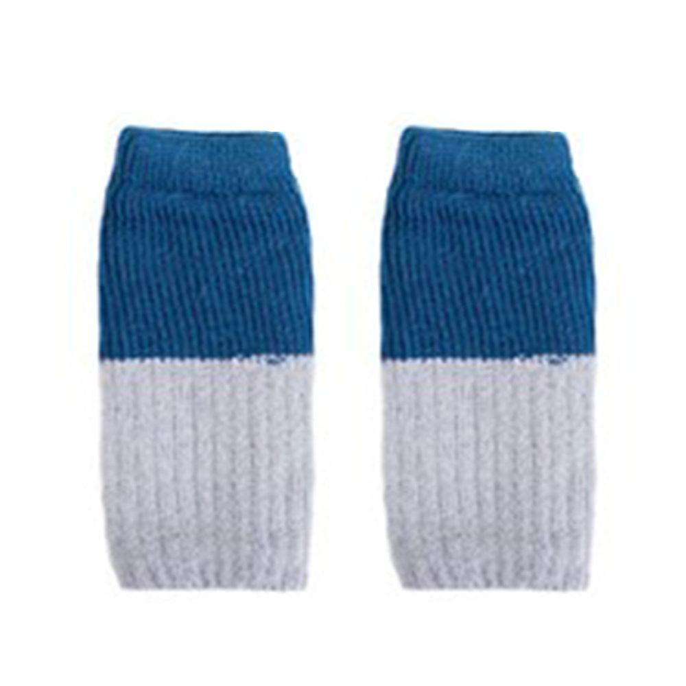 日本女裝代購 - 日本製 針織內裏絲綢 半截保暖手套-撞色-藍綠X灰 (Free)