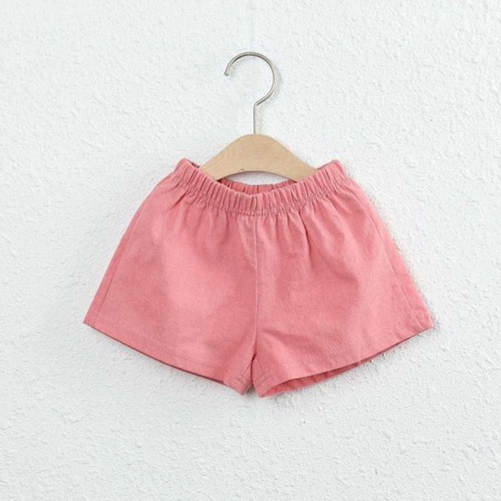 韓國製 - 棉麻小短褲-玫瑰粉