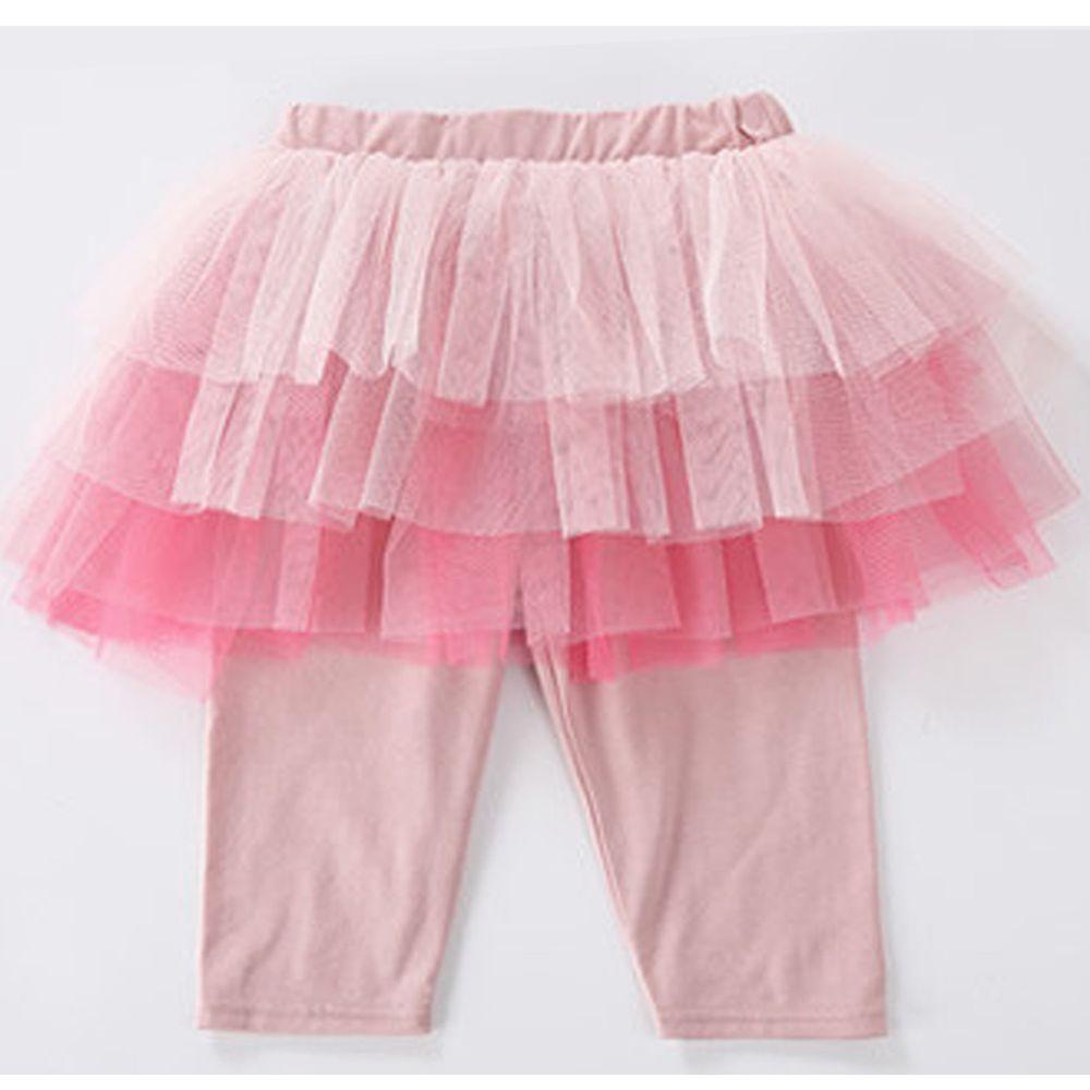 日本 Maison de Ravi - 漸層薄紗七分內搭褲裙-甜心粉