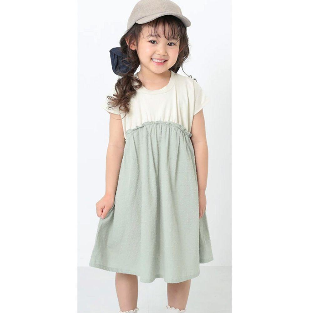 日本 devirock - 純棉短袖洋裝-米X綠