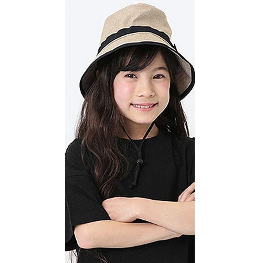 日本 devirock - 抗UV防曬兒童遮陽帽(附帽帶)-杏