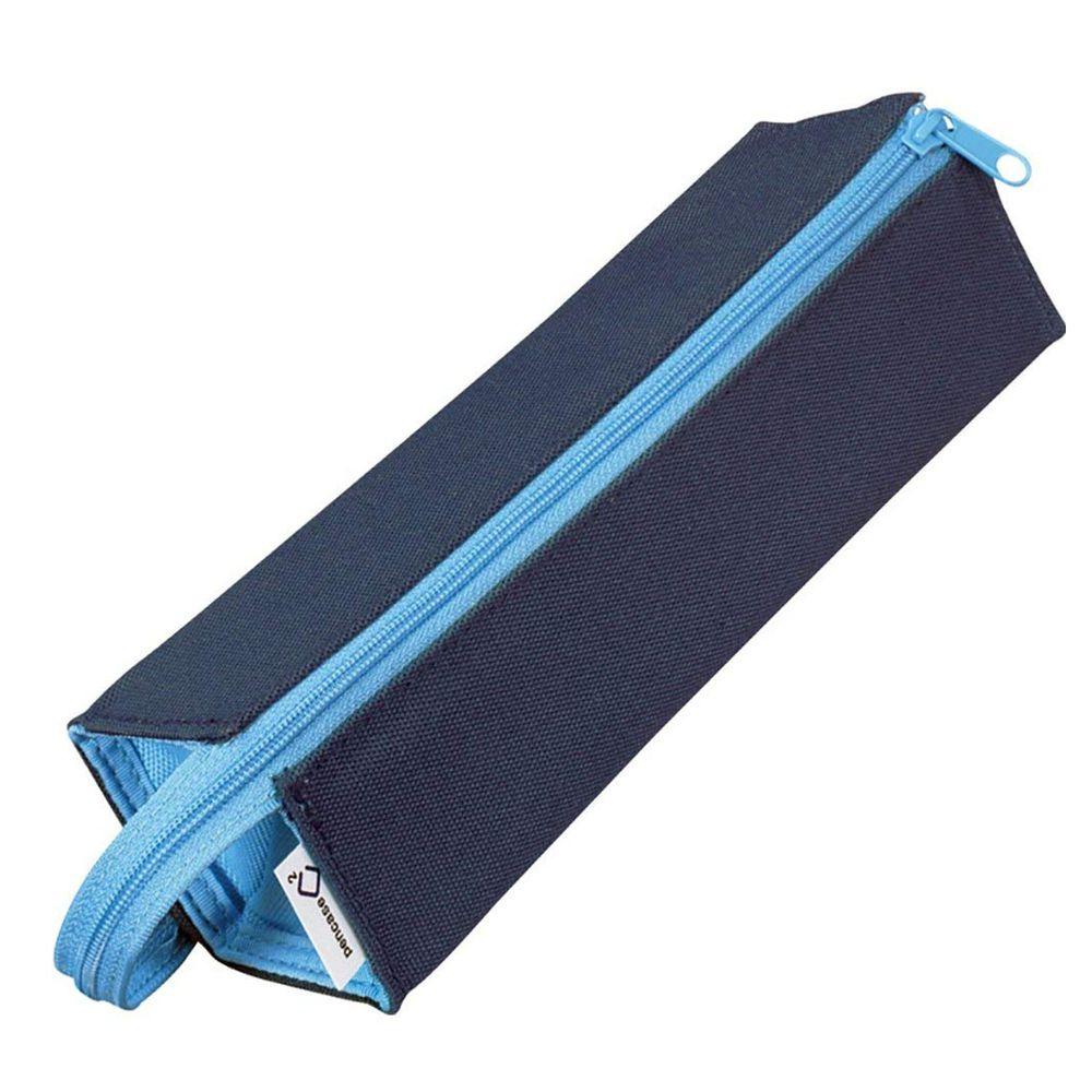 日本文具代購 - KOKUYO 可攤平大開口鉛筆盒-深藍 (23x5x5cm)