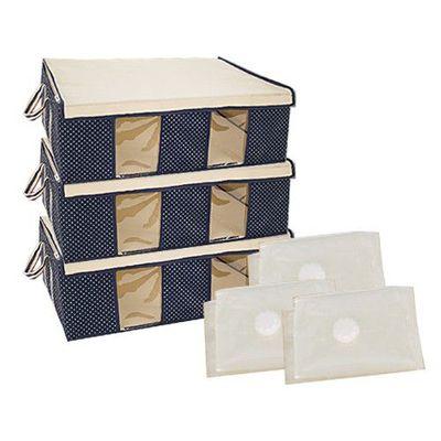跨世代3D壓縮袋棉被衣物防塵防潮收納箱6件組-3D壓縮袋x3+65公升收納箱x3-深海藍