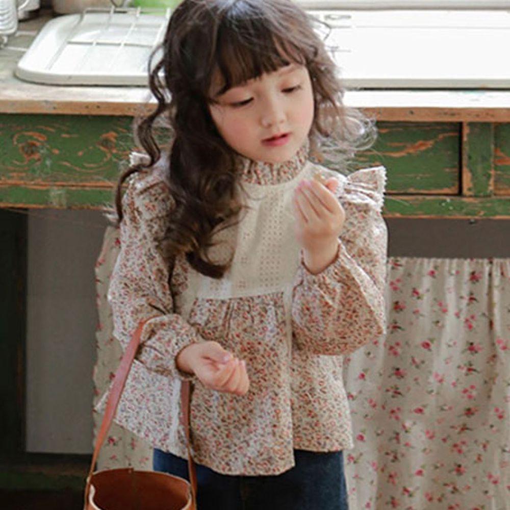 韓國 Puellaflo - 立體荷葉裝飾碎花上衣-淡粉紅