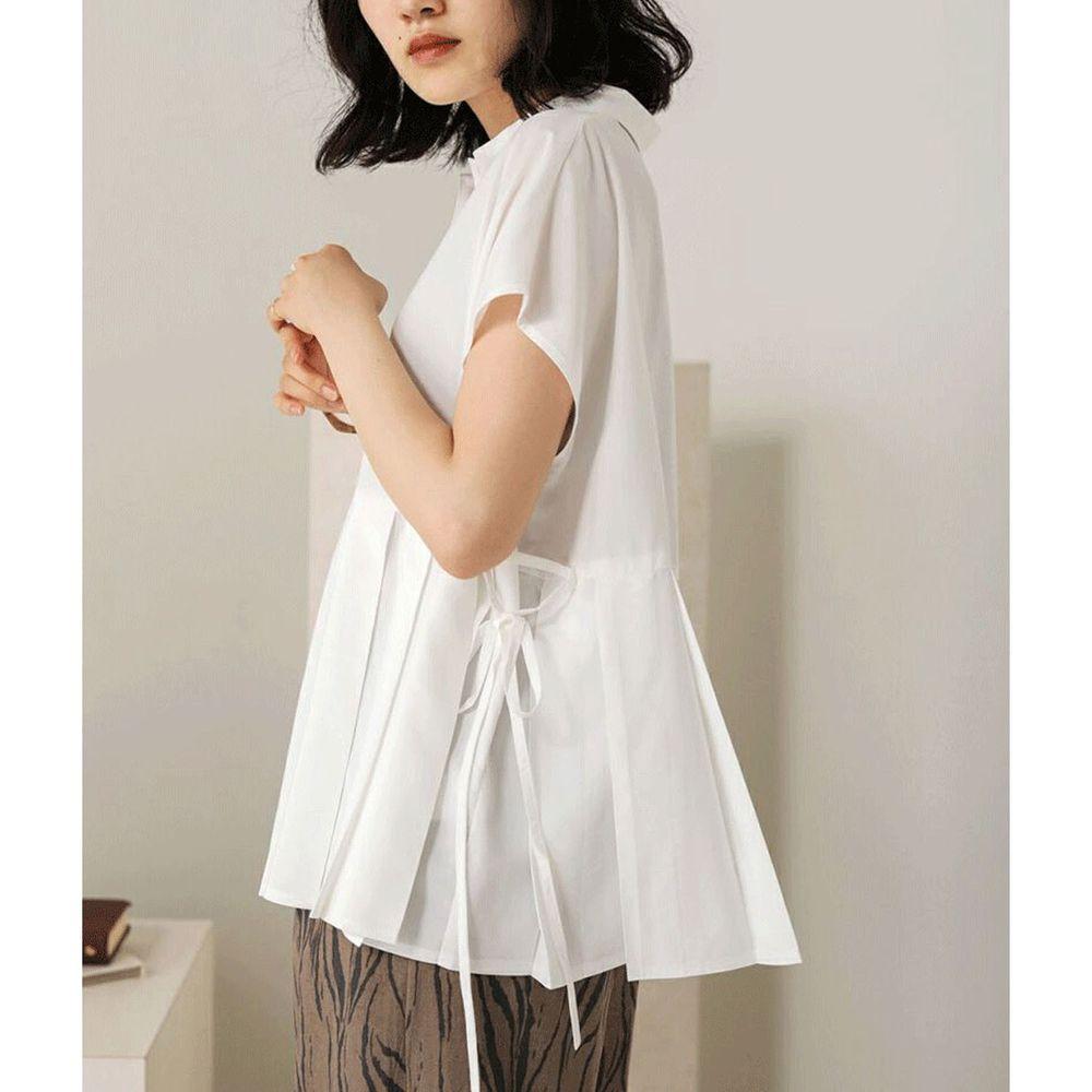 日本 Bou Jeloud - 百褶設計綁帶短袖襯衫-白