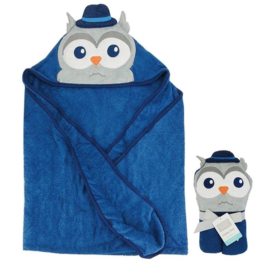 美國 Luvable Friends - 100% 純棉嬰幼兒動物造型連帽浴巾/包巾-貓頭鷹博士