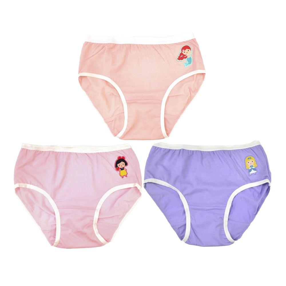貝柔 Peilou - 天絲棉舒膚平衡童女三角褲-貼布繡-3件組-白雪公主+灰姑娘+美人魚-粉+紫+橘