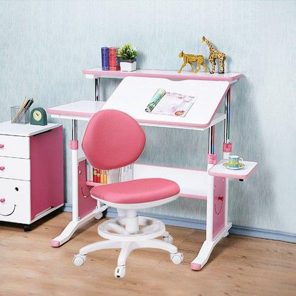 創意小天才 - 第五代兒童專用90cm調節桌二件組(桌+椅)/兒童書桌椅-俏皮粉