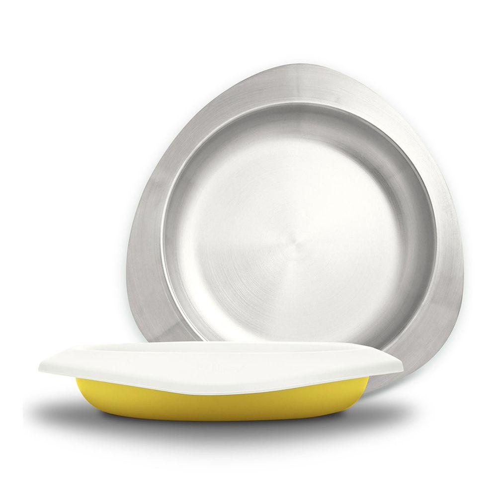 VIIDA - Soufflé抗菌不鏽鋼兒童餐盤-餐盤-萊姆黃