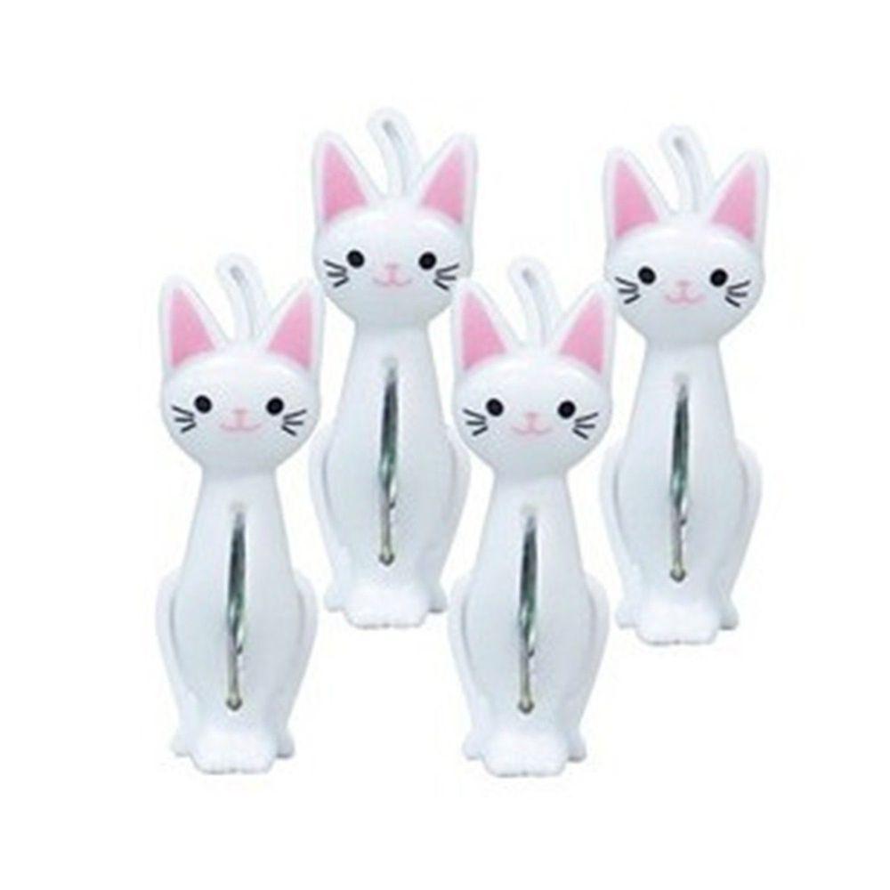 日本 貓尾物語 - 白貓站姿曬衣夾-4pcs