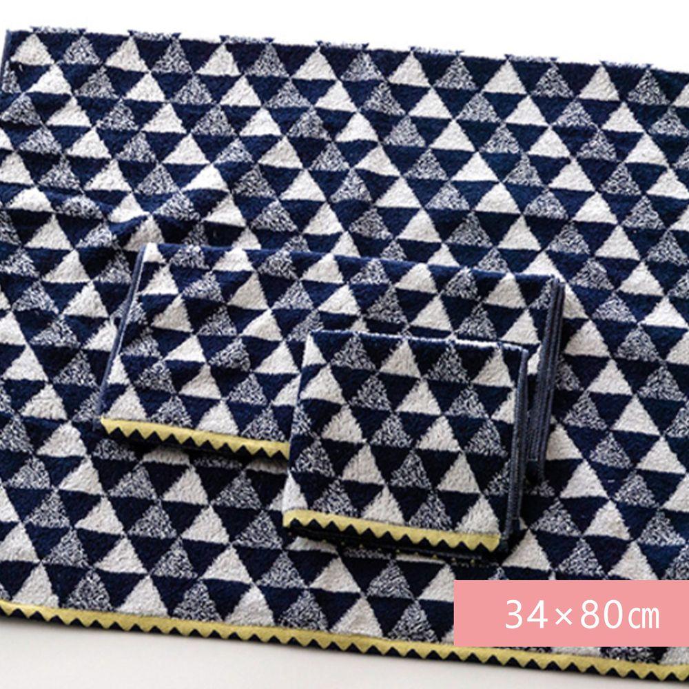 日本代購 - 【HartWELL】 日本今治產超長棉長毛巾-三角幾何-深藍 (34×80㎝)