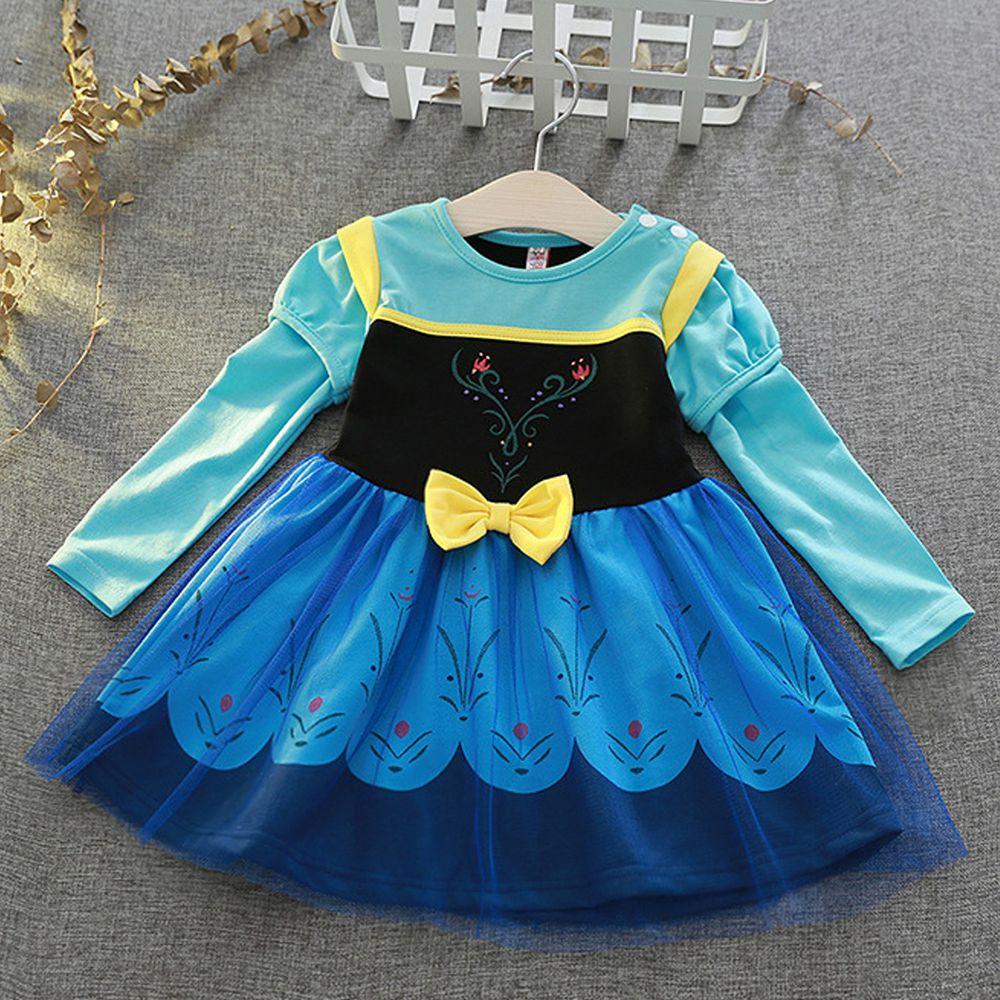 長袖造型公主裙-北歐藍