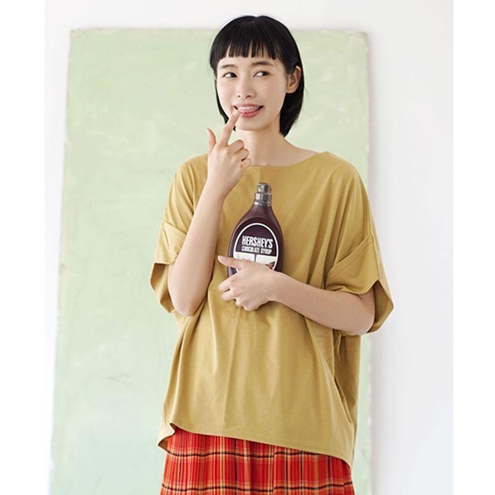 日本 zootie - Design+ 顯瘦立體感剪裁落肩五分袖上衣-芥末