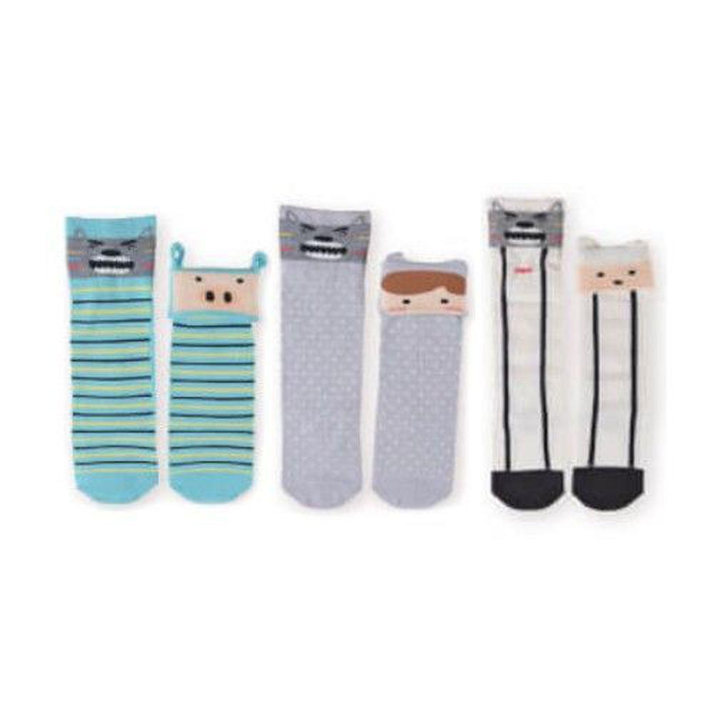 貝柔 Peilou - 貝寶童話故事寶寶襪3入組-男寶3款各1(小紅帽/三隻小豬/七小羊)-隨機色 (9~12cm)