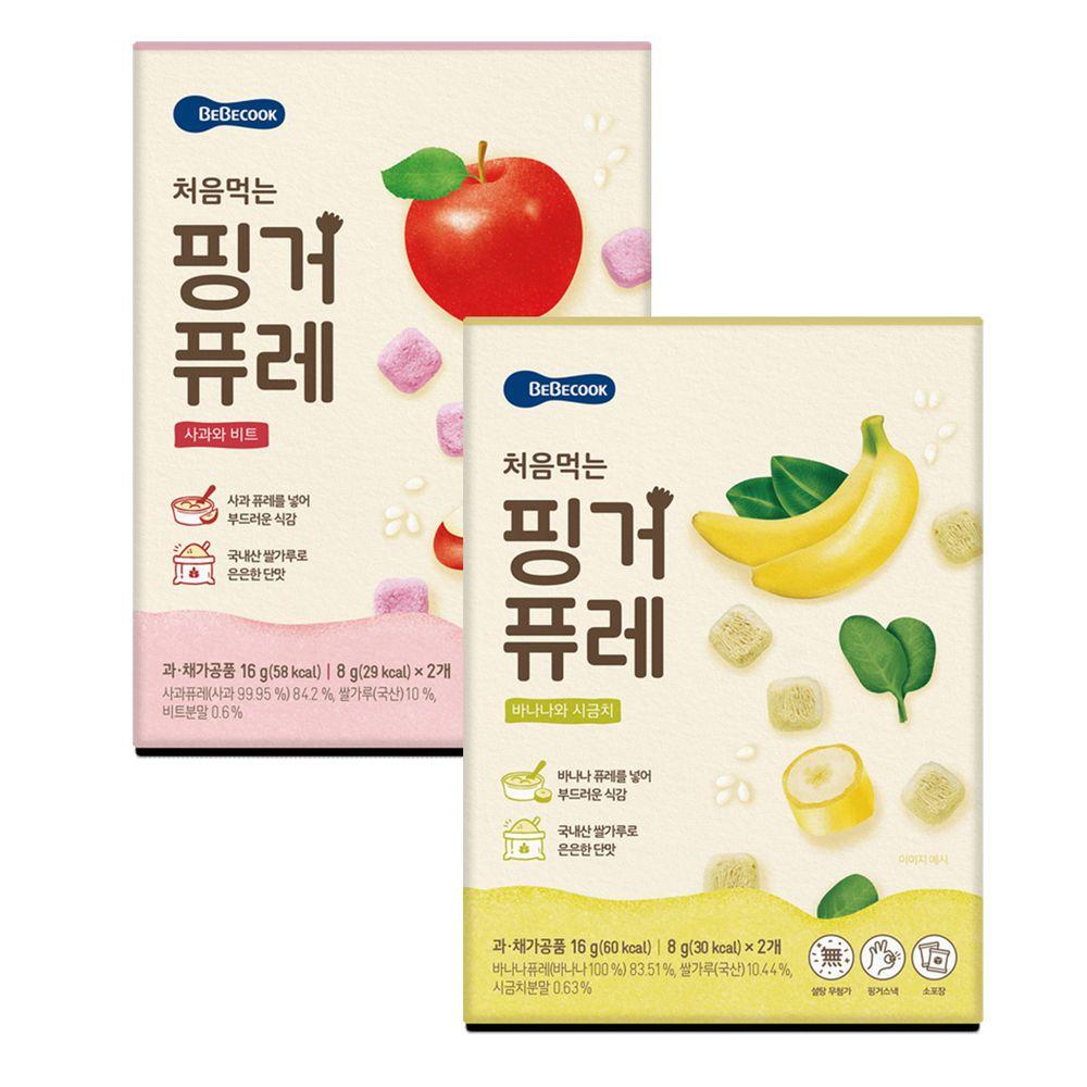 BEBECOOK 寶膳 - 嬰幼兒初食綿綿果泥餅-蘋果甜菜+香蕉波菜