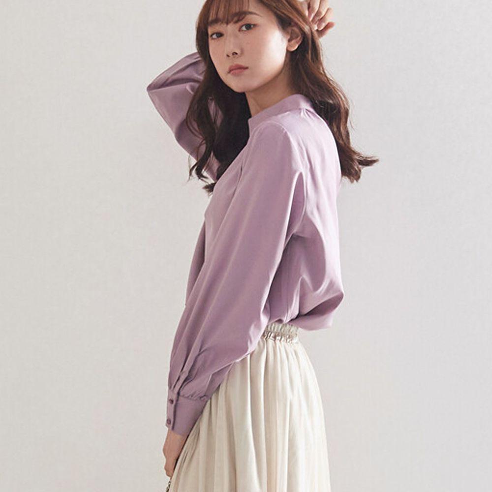 日本女裝代購 - 復古立領燈籠袖長袖上衣-紫