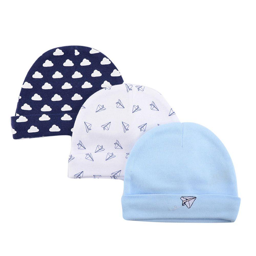 美國 Luvable Friends - 100%純棉新生兒棉帽 保暖帽3件組-紙飛機 (單一尺寸)