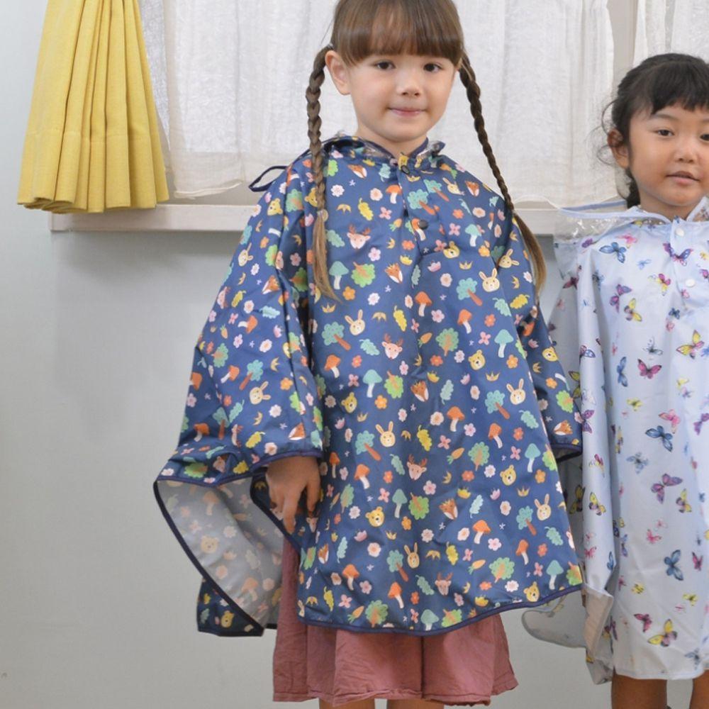 日本 akachan to issyo - 日本製防水斗篷雨衣-森林動物-墨綠-附收納袋