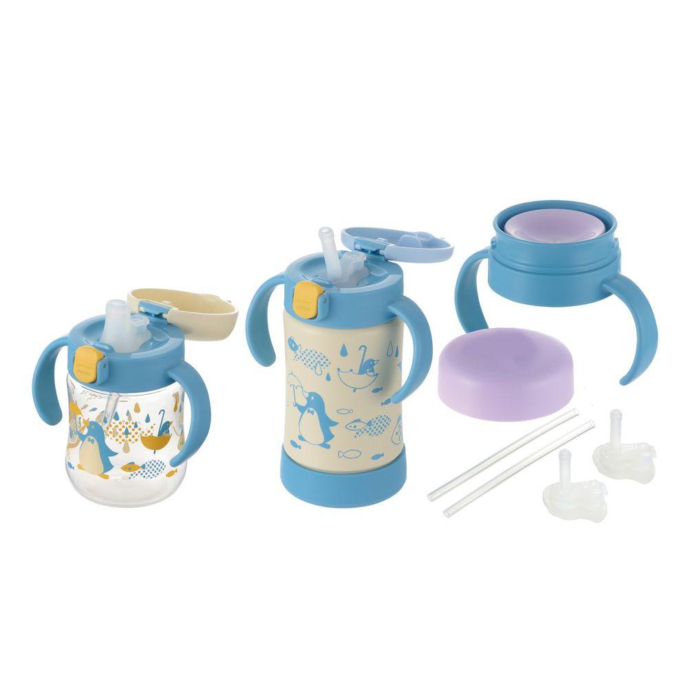 日本 Richell 利其爾 - 萌答答三階段不鏽鋼水杯禮盒組-吸管配件X2組、360度直飲上蓋(含墊圈)、鴨嘴吸管杯、不鏽鋼吸管杯-藍/黃-8個月適用