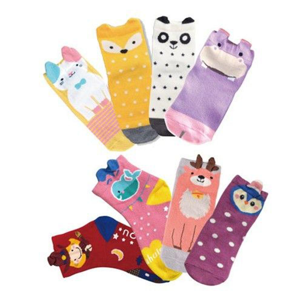 貝柔 Peilou - 貝寶趣味立體童襪8入組-8款各1雙(貓咪/小企鵝/胖達/河馬/狐狸/魔法女巫/寶貝鯨/麋鹿)-隨機色