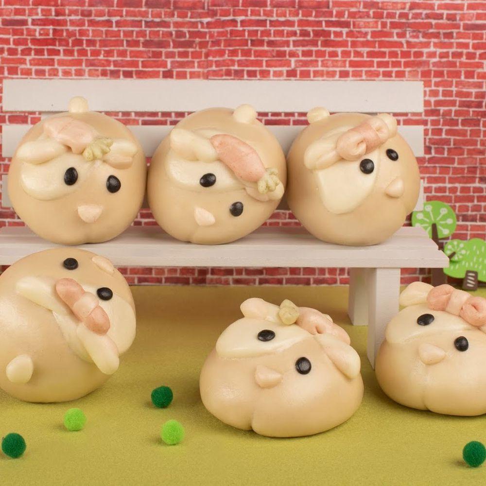 老甜媽手工饅頭 - 天竺鼠造型肉包-6入-420g