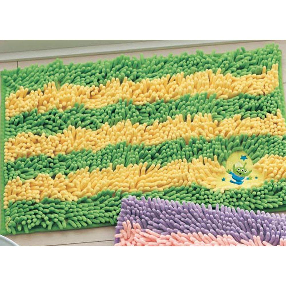 日本千趣會 - 迪士尼 吸水腳踏墊(橫條紋)-三眼怪-綠黃