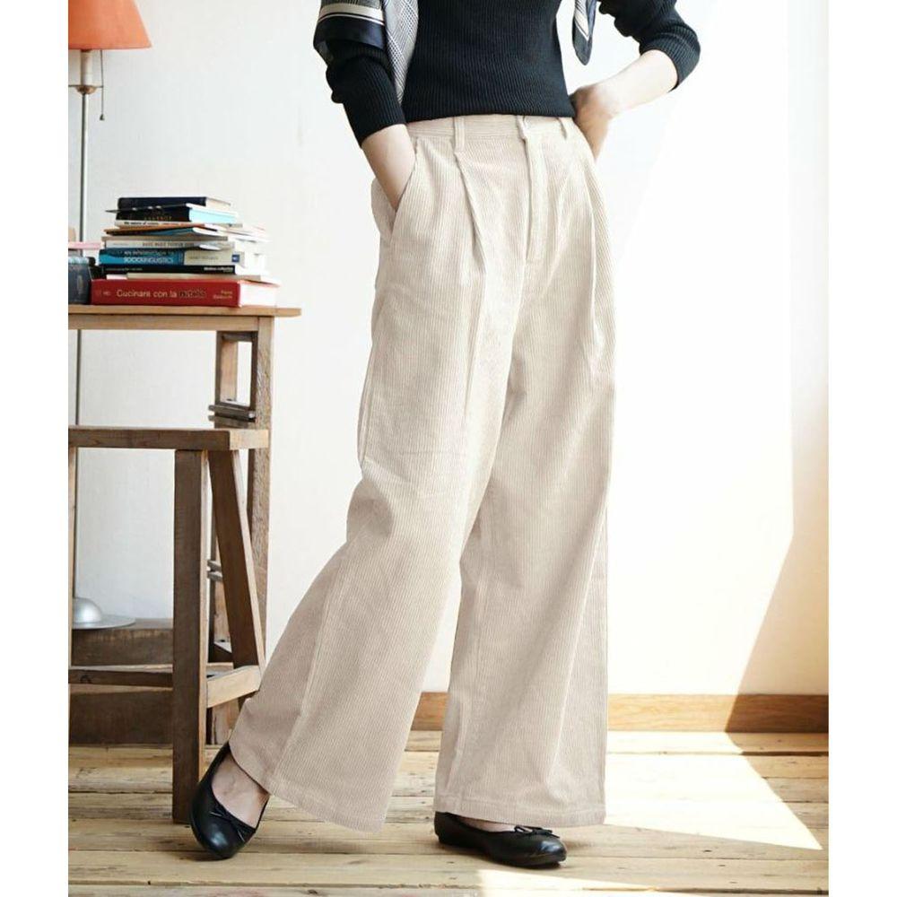 日本 zootie - 俐落帥氣燈芯絨寬褲-米白