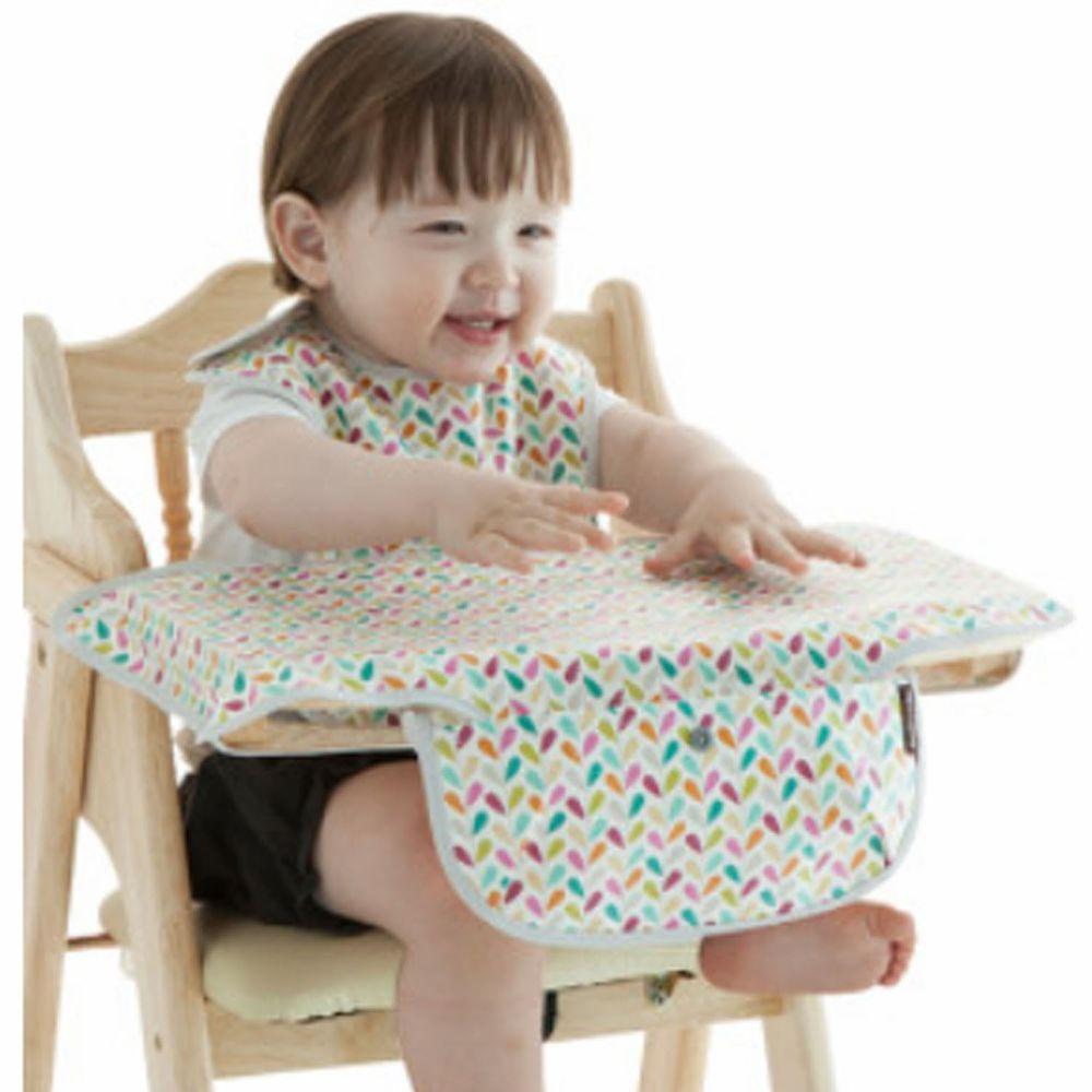 韓國 Babyclo - 防水圍兜餐墊攜帶組(附收納袋)-七彩葉子