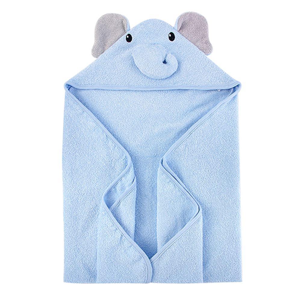 美國 Luvable Friends - 100% 純棉嬰幼兒動物造型連帽浴巾/包巾-藍色大象