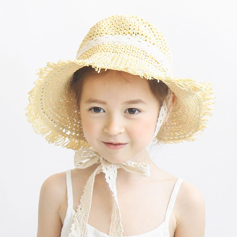 韓國 Babyblee - 鬚邊蕾絲大草帽-淺杏 (頭圍:51-53cm)