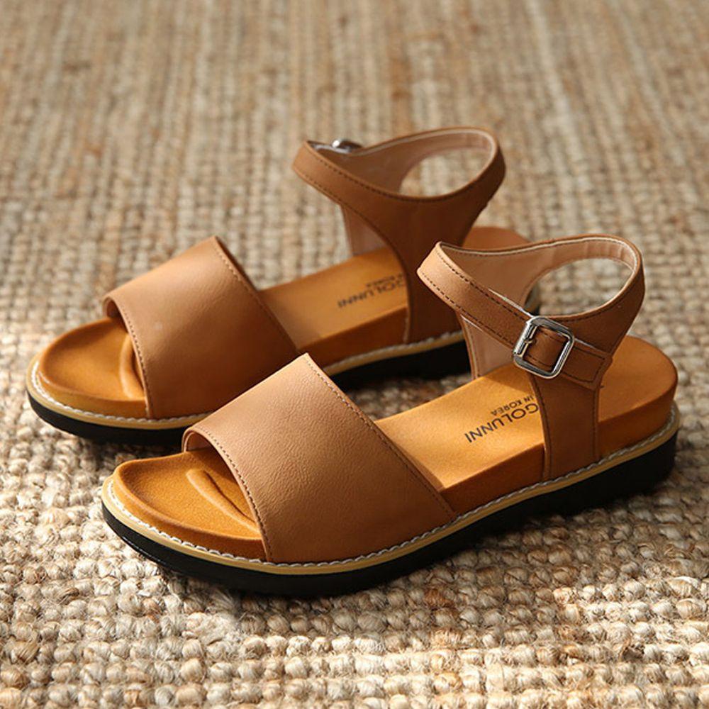 韓國 Dangolunni - 皮革寬面後增高涼鞋(4cm高)-棕
